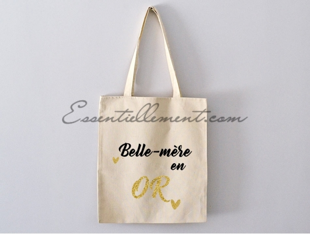 "Sac Tote bag ""Belle mère en or"""
