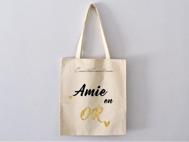 """Sac Tote bag """"Amie en or"""""""