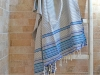 Fouta plate Arabesque rayée Bleu Ardoise, Ivoire, Caraïbes, Bleu roi, Noir