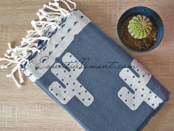 Fouta Jacquard Cactus Bleu Jean