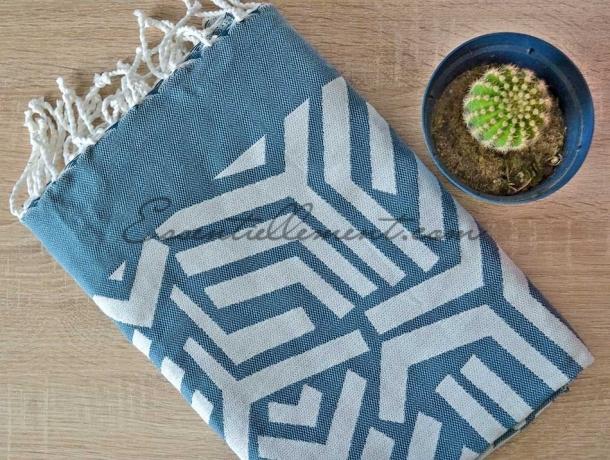 Fouta Jacquard Labyrinthe Bleu Canard