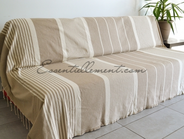 Fouta XXL plate Taupe rayée Ivoire
