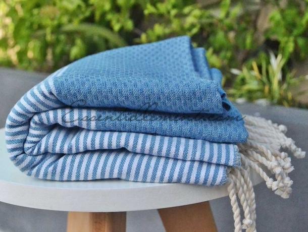 Fouta Bleu Jean Clair rayée Blanc - Nid d'abeille
