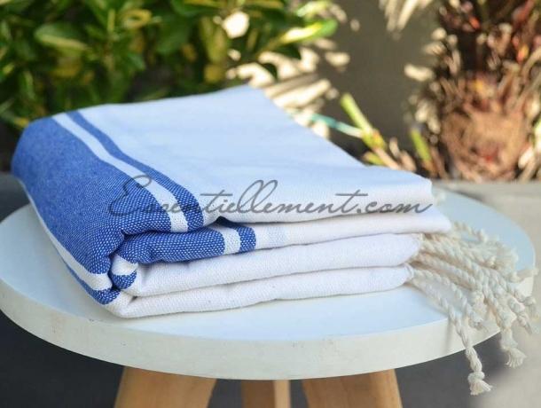 Fouta plate Bicolore Blanc / Bleu Grec