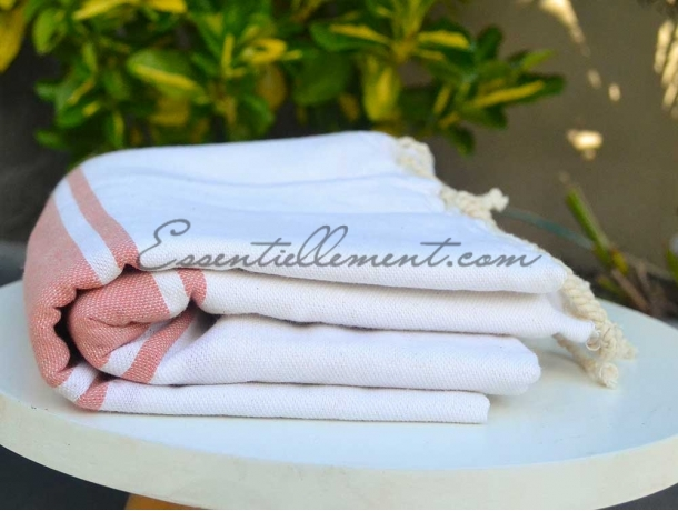 Fouta plate Bicolore Blanc / Rose Pêche