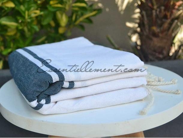 Fouta plate Bicolore Blanc / Bleu Jean
