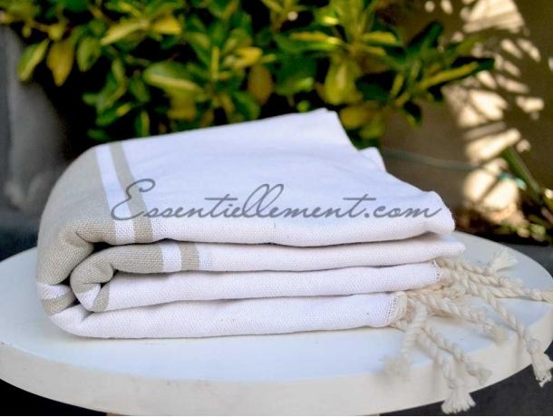 Fouta plate Bicolore Blanc / Beige Ficelle