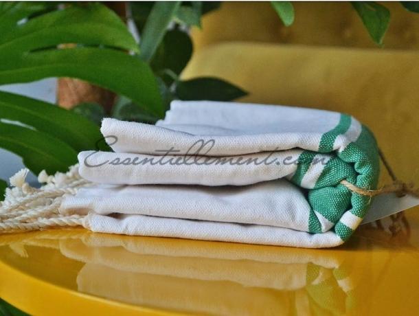 Fouta plate Bicolore Blanc / Vert Menthe