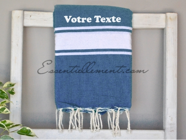 Serviette Fouta plate Bleu Jean à Personnaliser