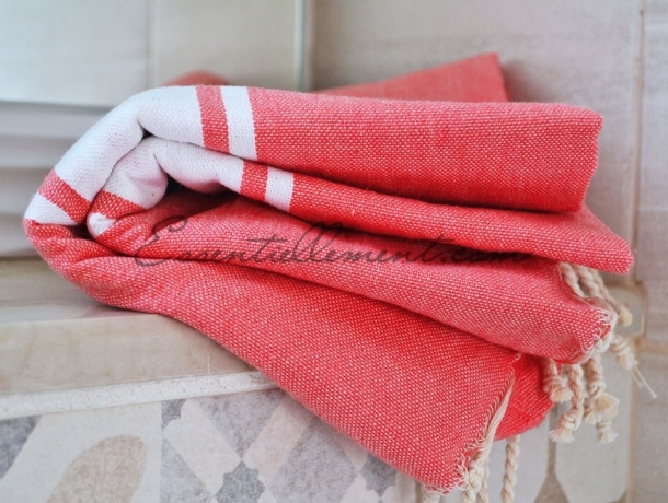 Fouta Plate Rose Flamant