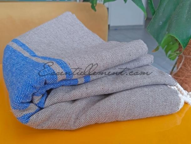 Fouta plate Bicolore Gris Taupe / Bleu Grec