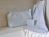 Lot Gris Clair Petite serviette Fouta / Trousse Toilette / Savon Musc