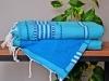 Fouta Doublée Berbère ZAYAR Eponge Turquoise - Plate