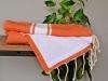 Fouta Orange Pêche Doublée Eponge blanche - plate