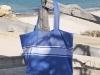 Maxi Sac de Plage Bleu Grec en Fouta Plate