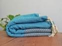 Serviette Fouta Bicolore Gris Graphite rayée Turquoise Nid d'abeille